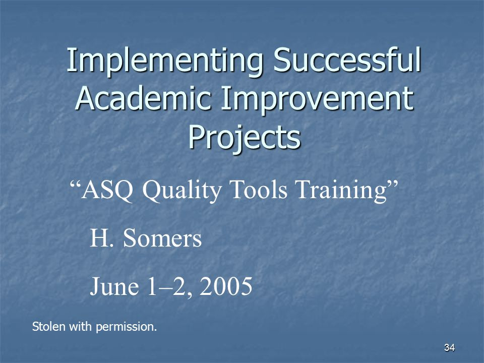 Implementing Successful Academic Improvement Projects