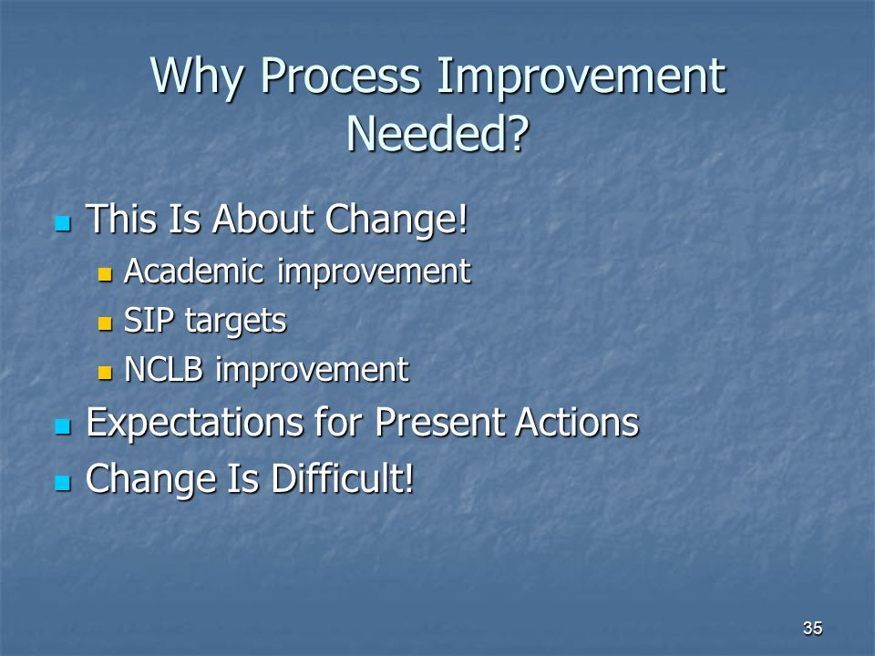 Why Process Improvement Needed