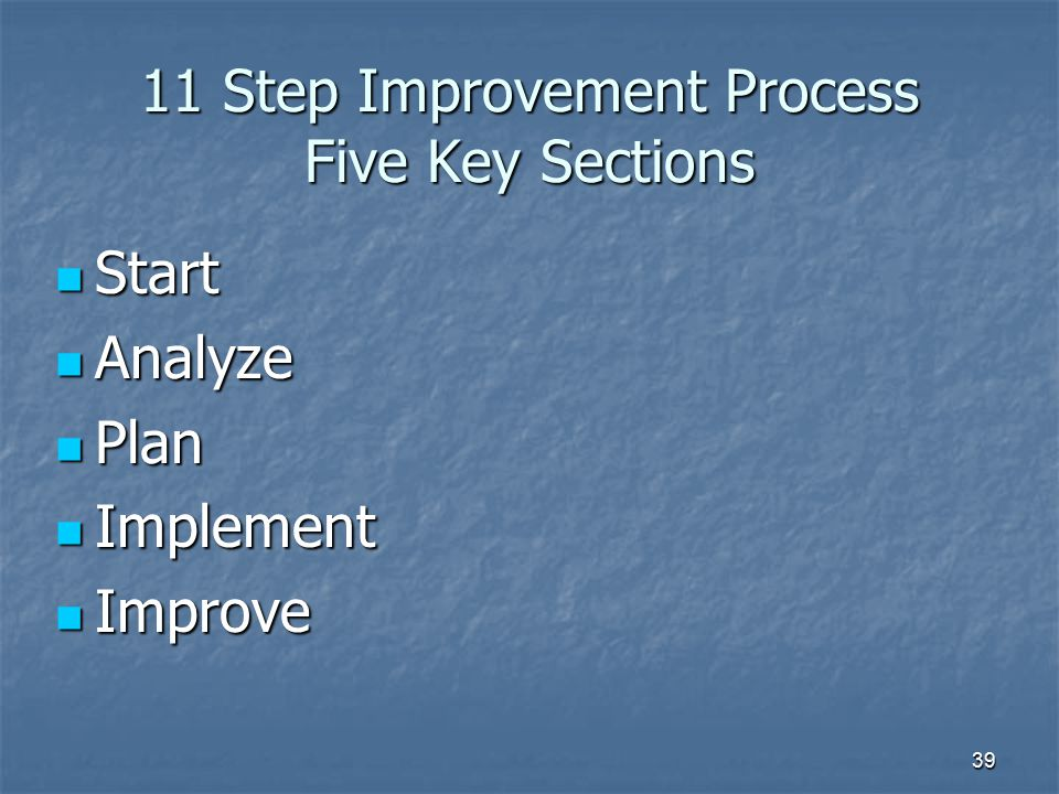 11 Step Improvement Process Five Key Sections