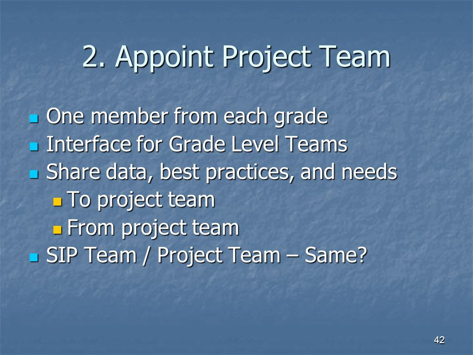 2. Appoint Project Team One member from each grade