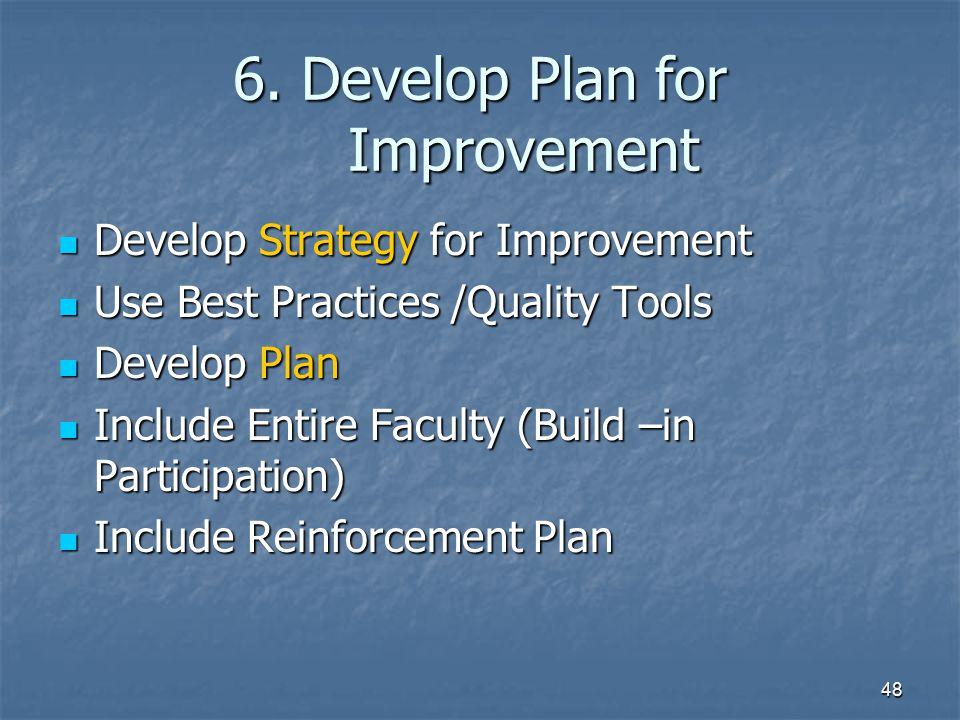 6. Develop Plan for Improvement