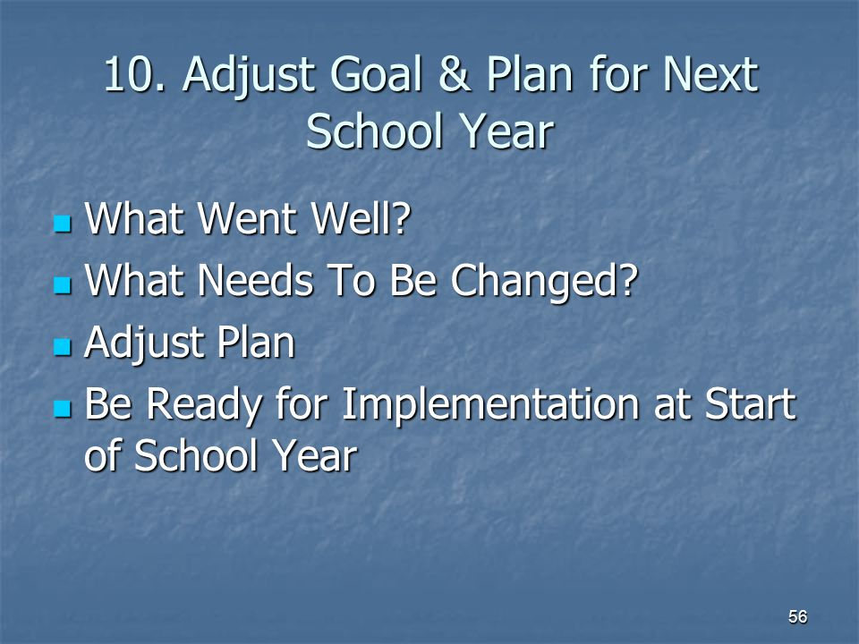 10. Adjust Goal & Plan for Next School Year