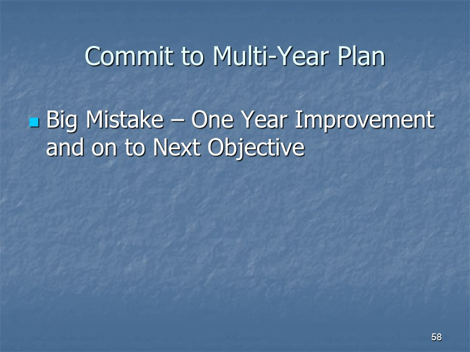 Commit to Multi-Year Plan