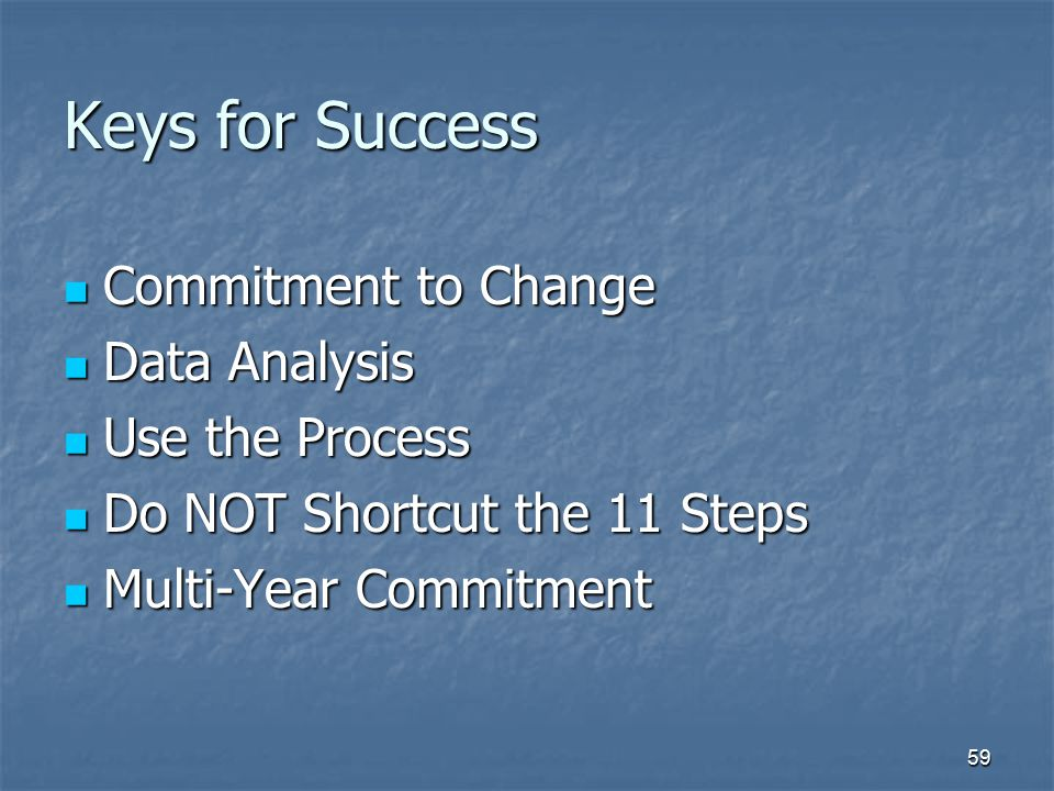 Keys for Success Commitment to Change Data Analysis Use the Process