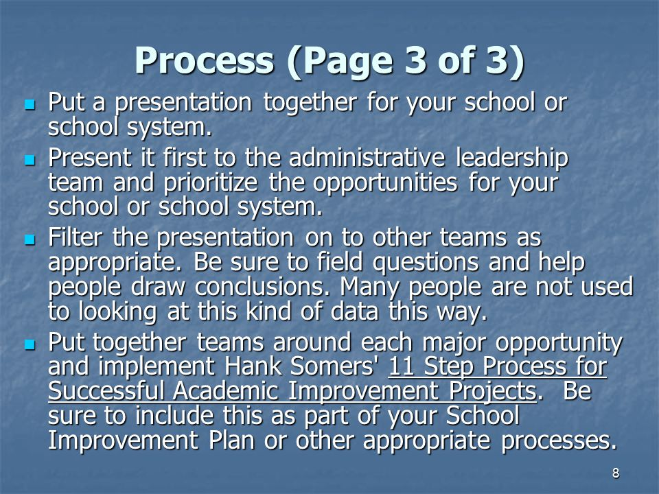 Process (Page 3 of 3) Put a presentation together for your school or school system.