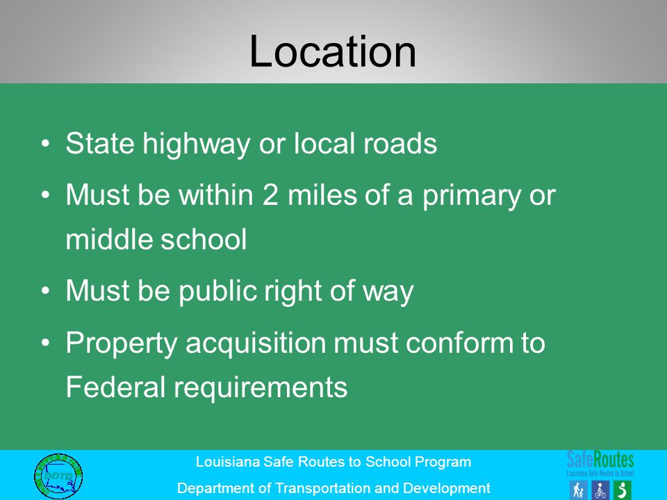 Location State highway or local roads