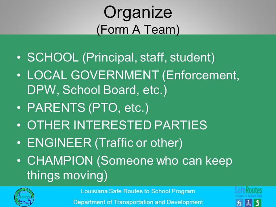 Organize (Form A Team) SCHOOL (Principal, staff, student)