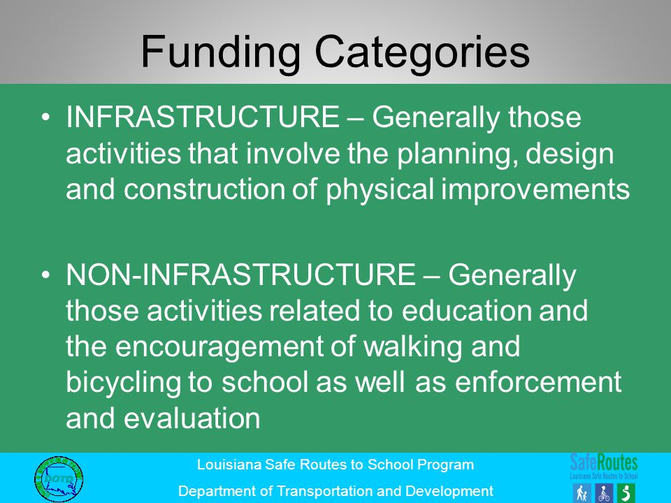 Funding Categories INFRASTRUCTURE – Generally those activities that involve the planning, design and construction of physical improvements.