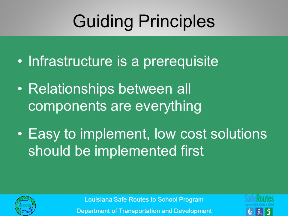 Guiding Principles Infrastructure is a prerequisite