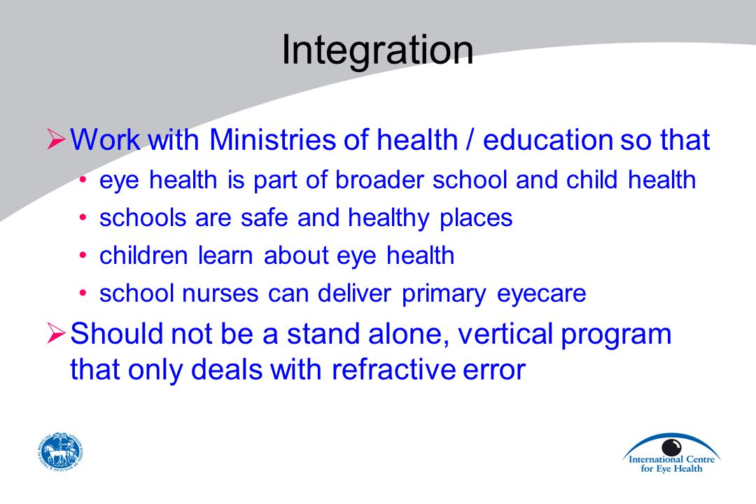 Integration Work with Ministries of health / education so that