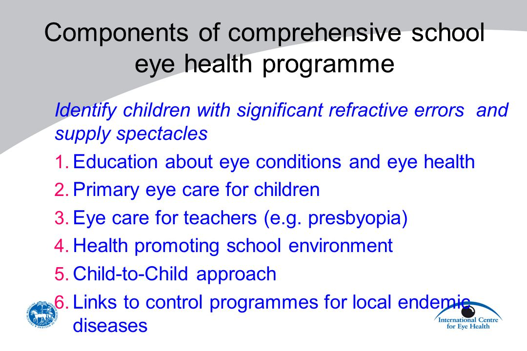 Components of comprehensive school eye health programme