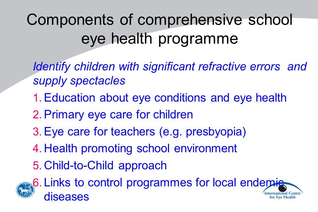 Components of comprehensive school eye health programme
