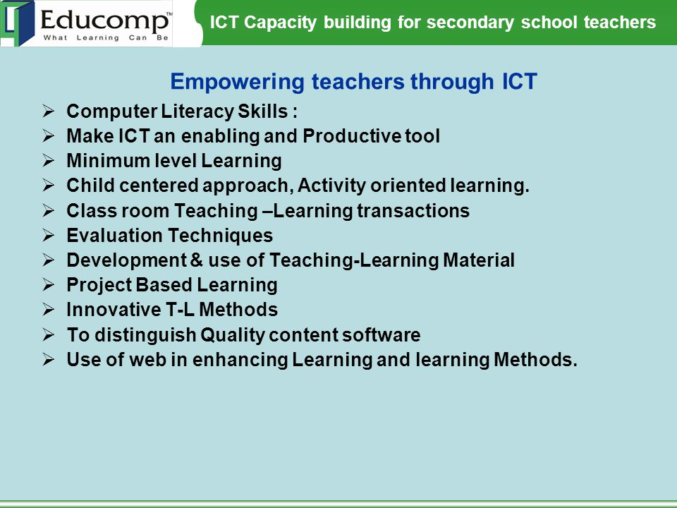 Empowering teachers through ICT