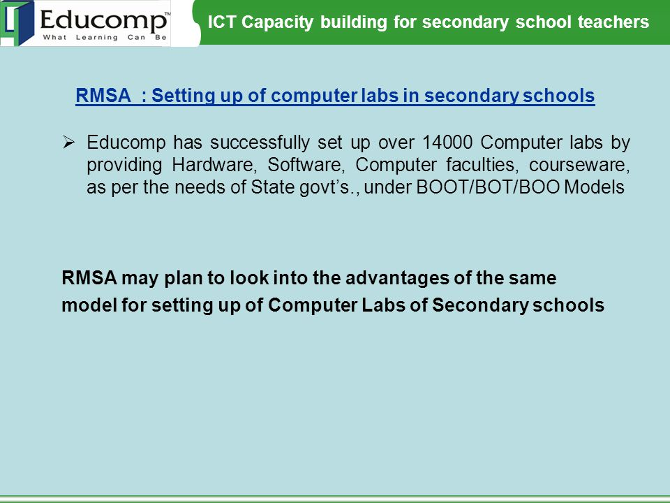 RMSA : Setting up of computer labs in secondary schools