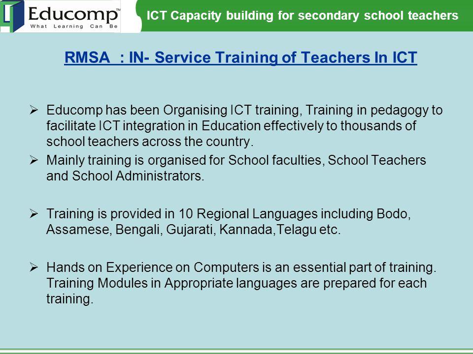 RMSA : IN- Service Training of Teachers In ICT