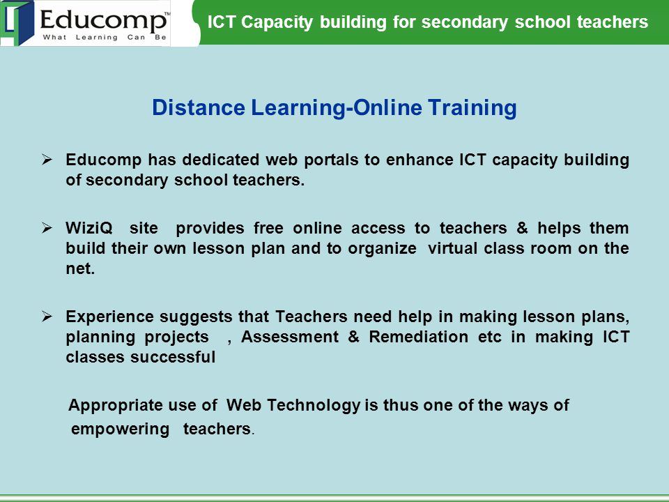 Distance Learning-Online Training