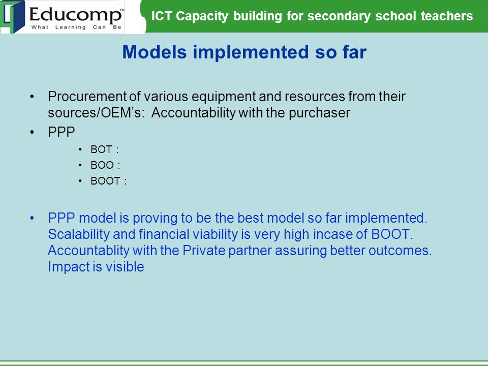 Models implemented so far