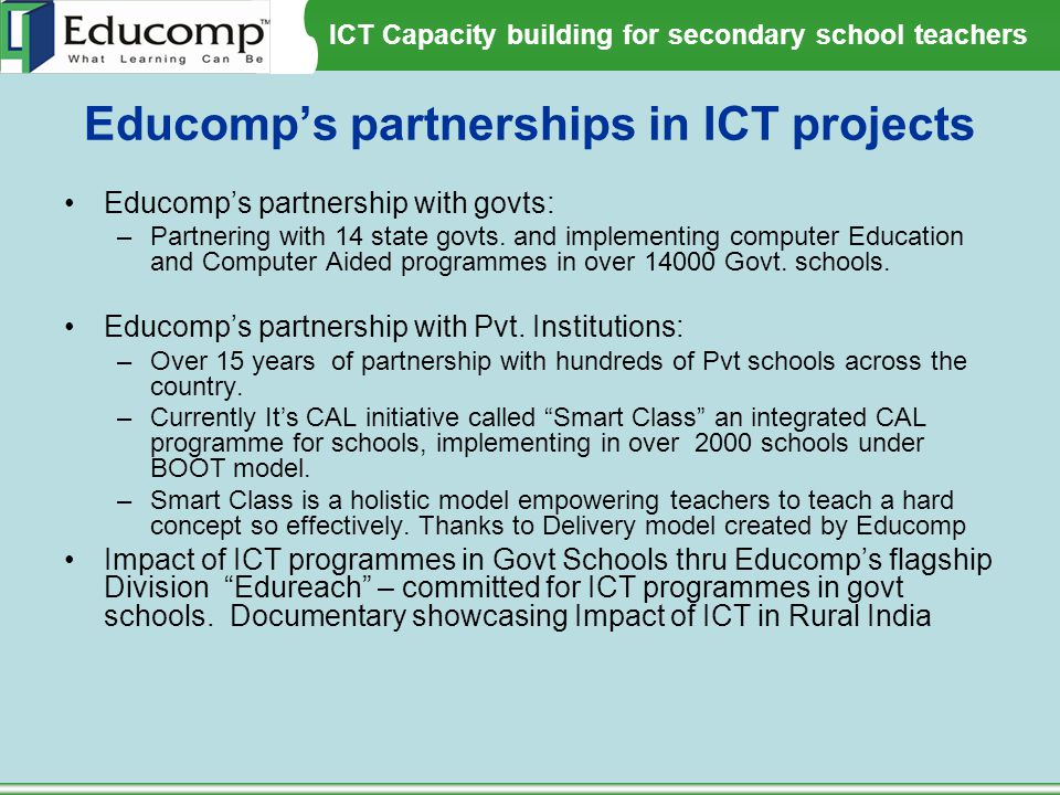 Educomp's partnerships in ICT projects