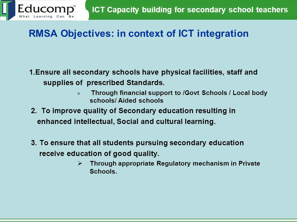 RMSA Objectives: in context of ICT integration