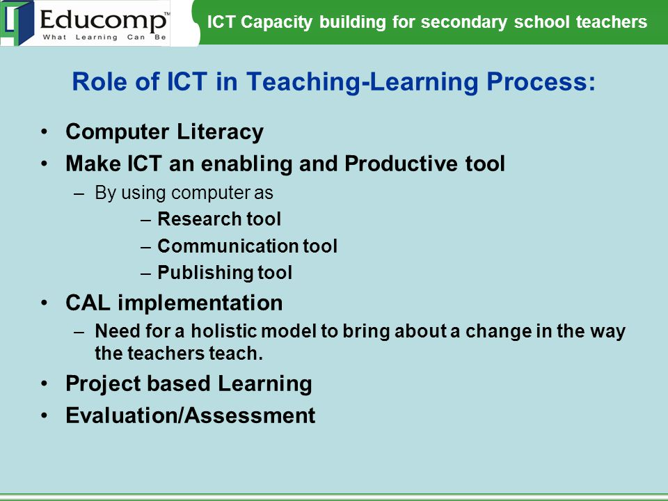 Role of ICT in Teaching-Learning Process: