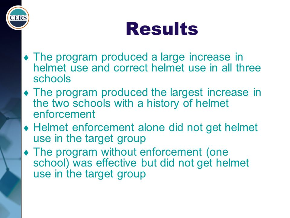 Results The program produced a large increase in helmet use and correct helmet use in all three schools.
