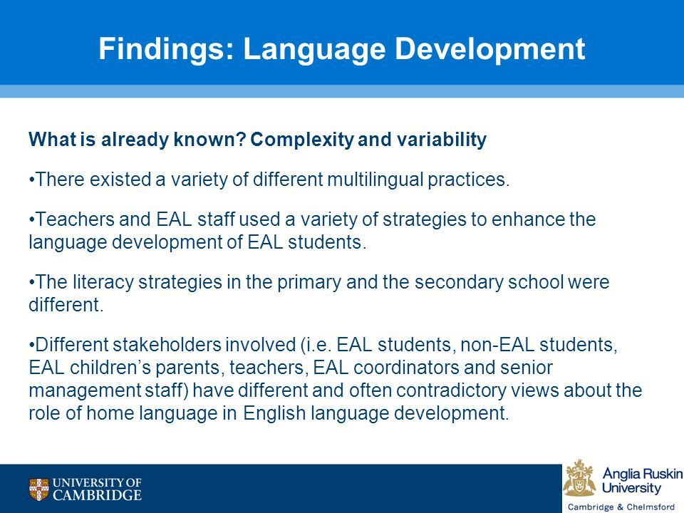 Findings: Language Development