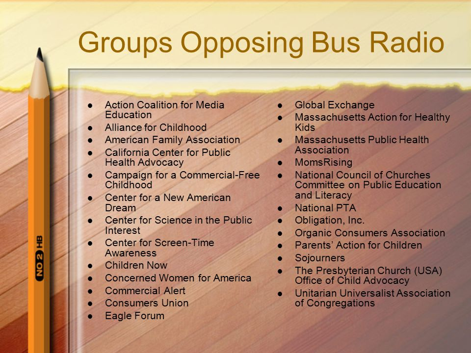 Groups Opposing Bus Radio