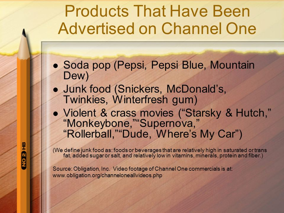 Products That Have Been Advertised on Channel One