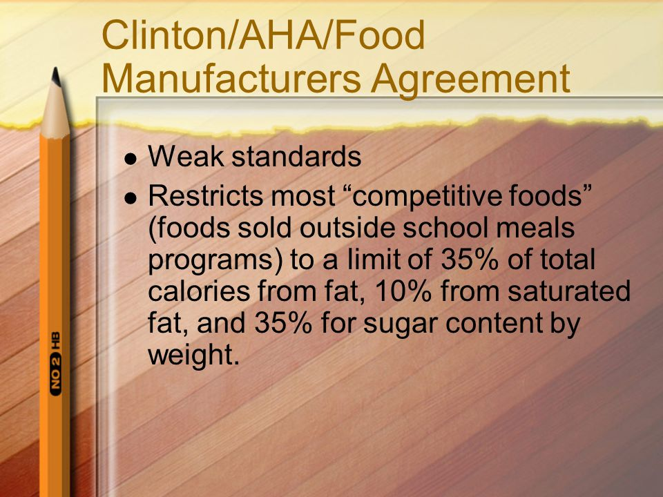 Clinton/AHA/Food Manufacturers Agreement