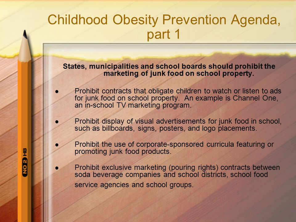 Childhood Obesity Prevention Agenda, part 1