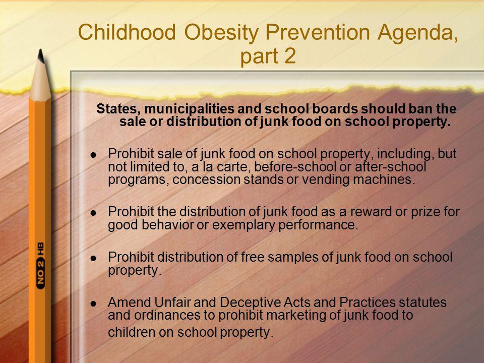 Childhood Obesity Prevention Agenda, part 2