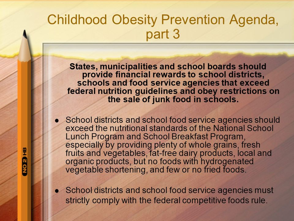 Childhood Obesity Prevention Agenda, part 3