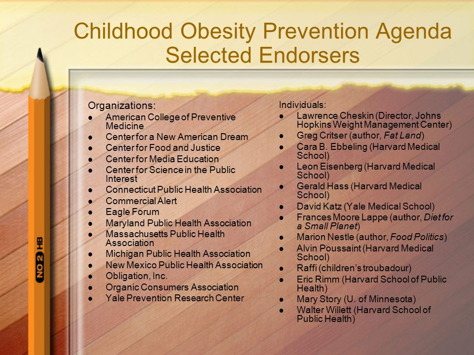 Childhood Obesity Prevention Agenda Selected Endorsers