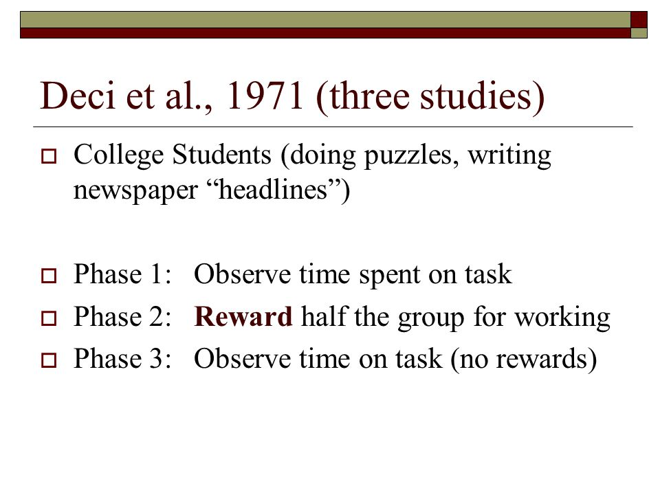 Deci et al., 1971 (three studies)