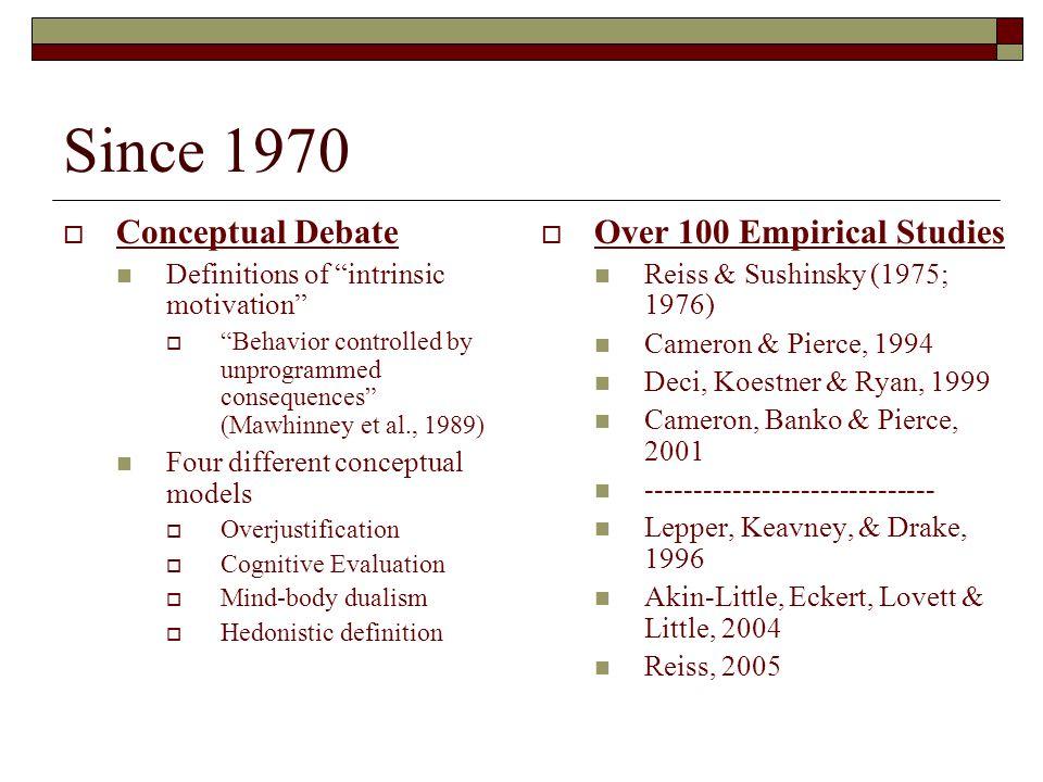 Since 1970 Conceptual Debate Over 100 Empirical Studies