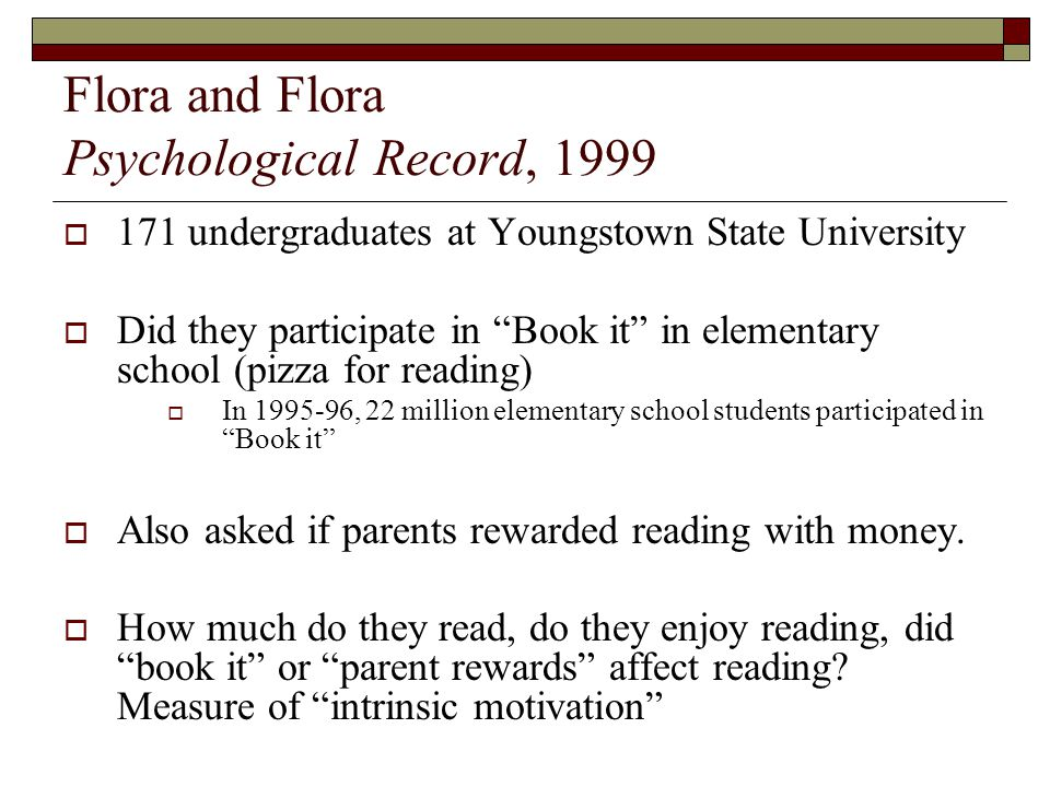 Flora and Flora Psychological Record, 1999