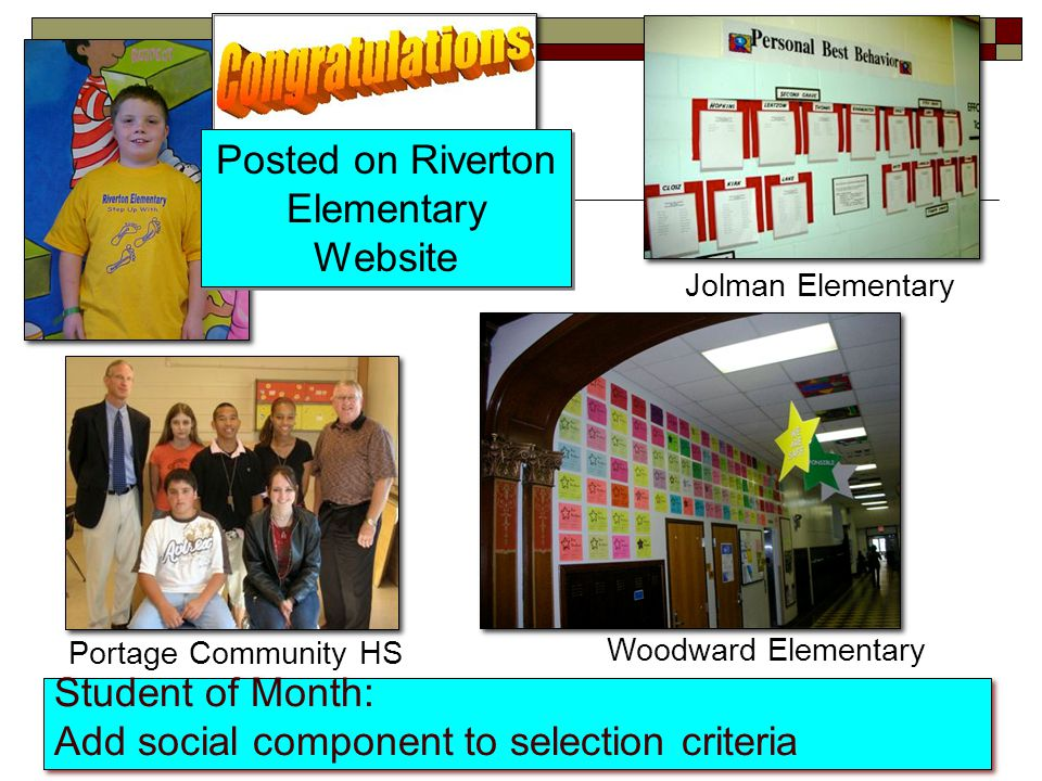 Student of Month: Add social component to selection criteria