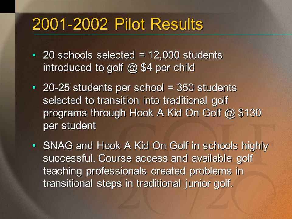 2001-2002 Pilot Results 20 schools selected = 12,000 students introduced to golf @ $4 per child.