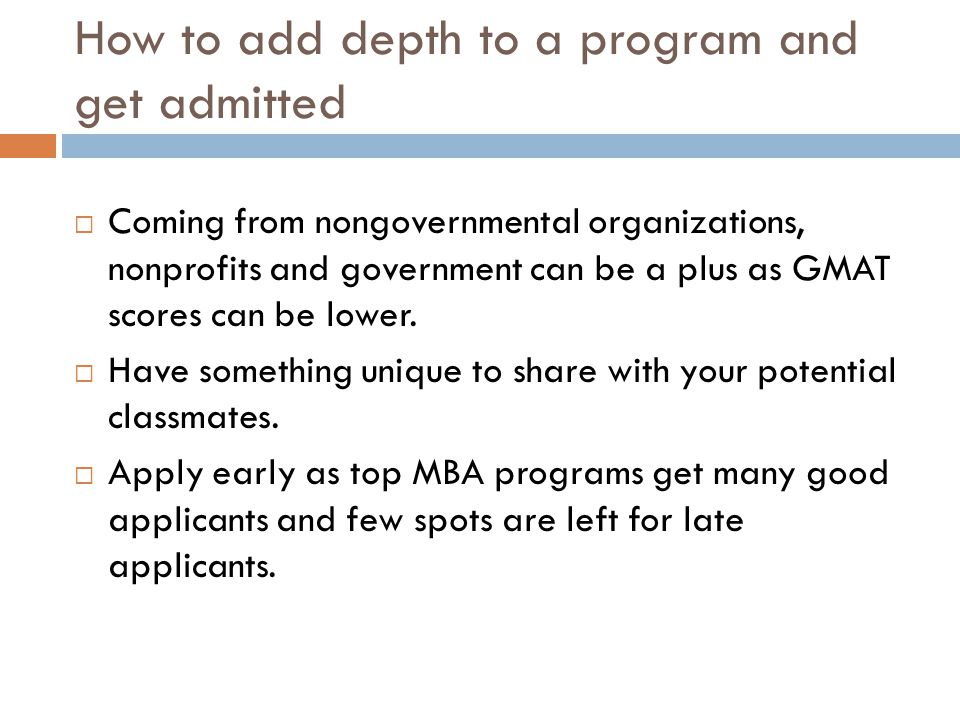 How to add depth to a program and get admitted