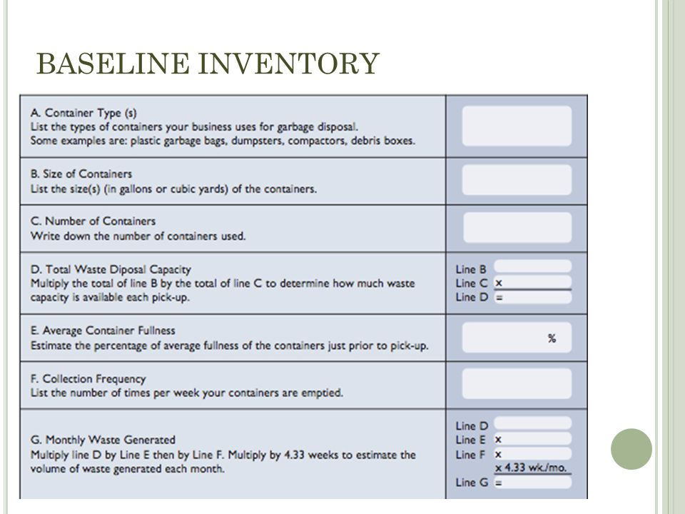 BASELINE INVENTORY