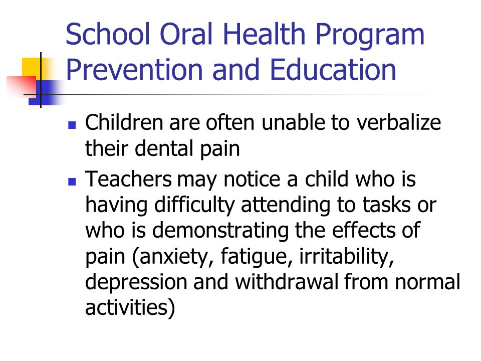 School Oral Health Program Prevention and Education