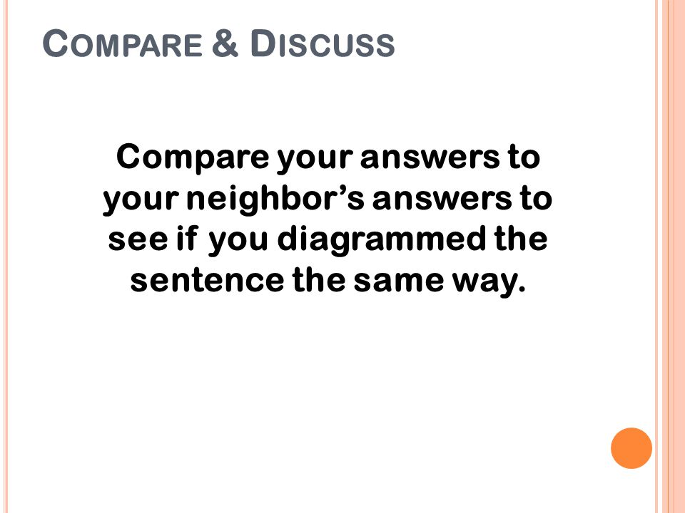 Compare & Discuss Compare your answers to your neighbor's answers to see if you diagrammed the sentence the same way.