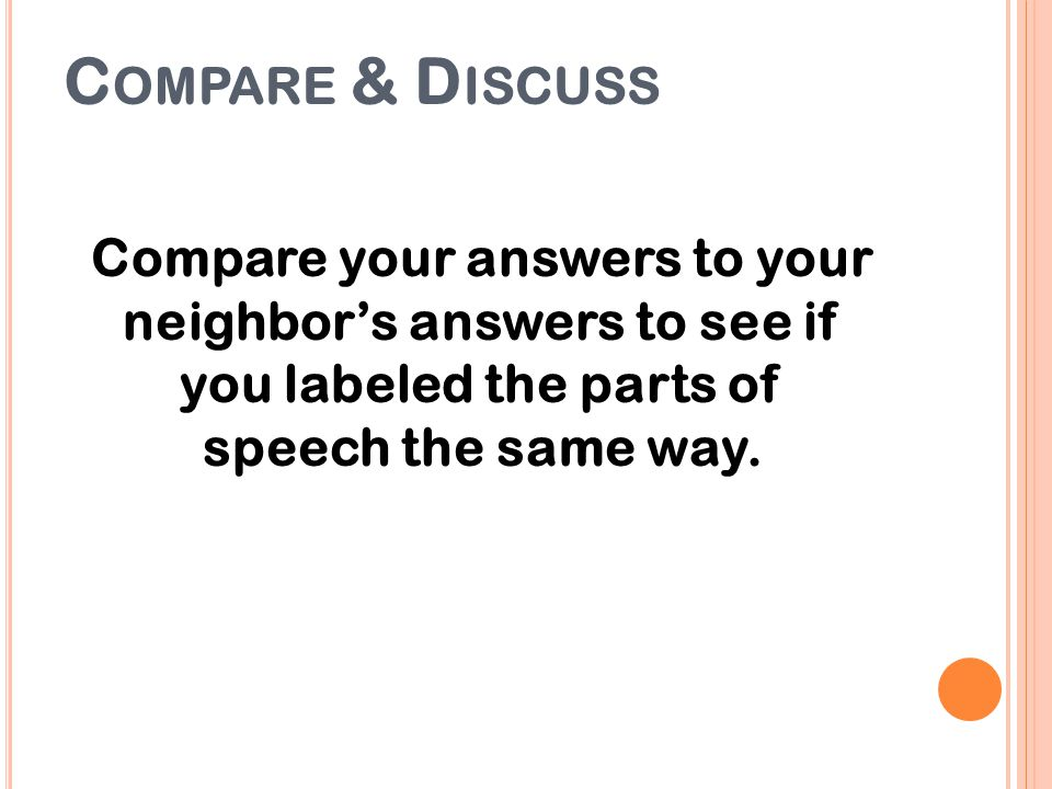 Compare & Discuss Compare your answers to your neighbor's answers to see if you labeled the parts of speech the same way.