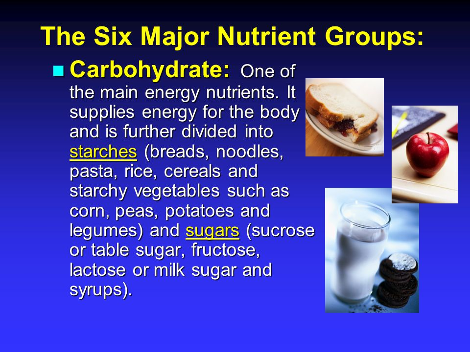 The Six Major Nutrient Groups: