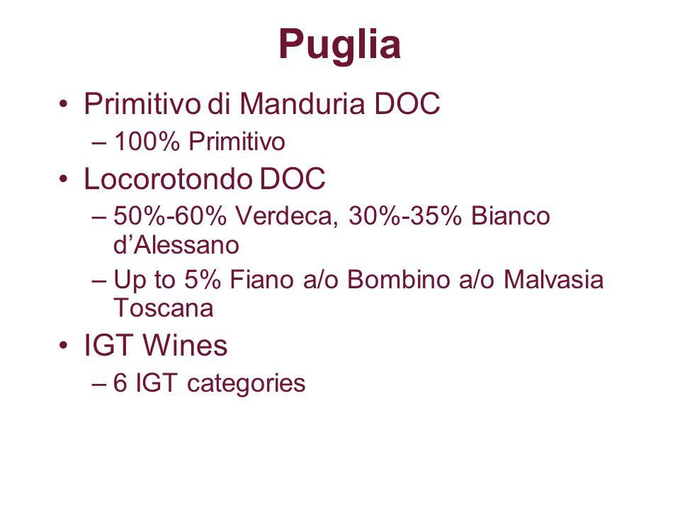 Puglia Primitivo di Manduria DOC Locorotondo DOC IGT Wines