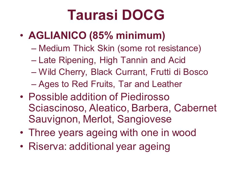 Taurasi DOCG AGLIANICO (85% minimum)