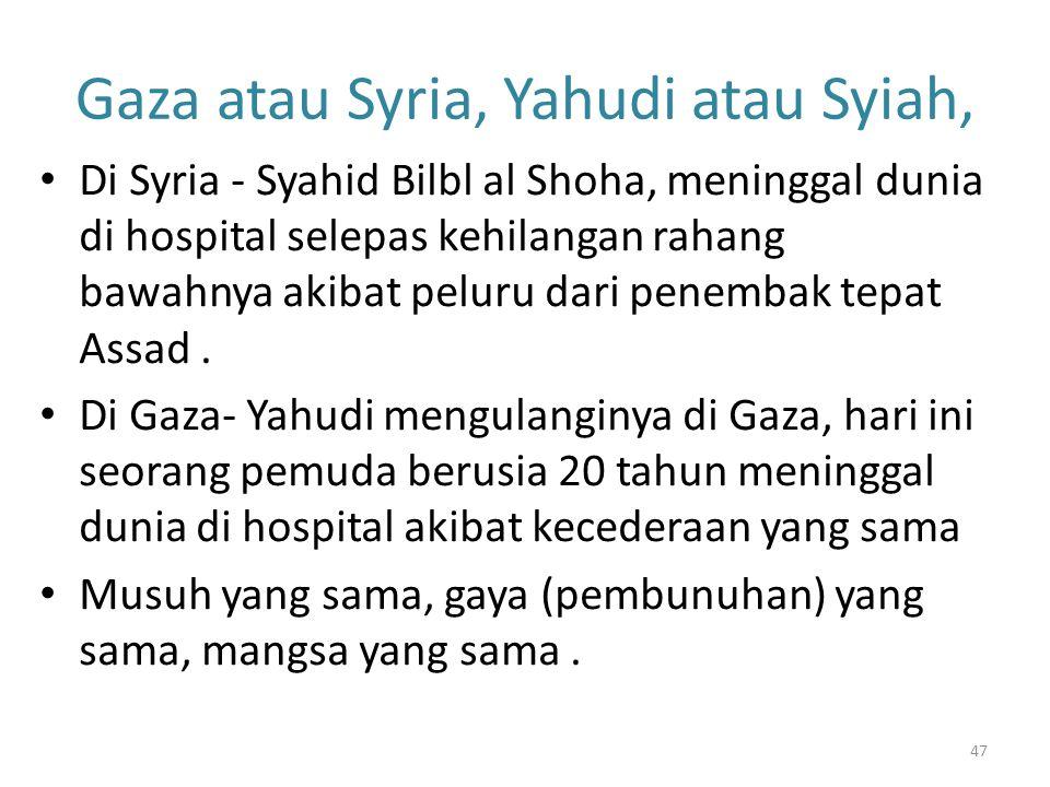 Gaza atau Syria, Yahudi atau Syiah,