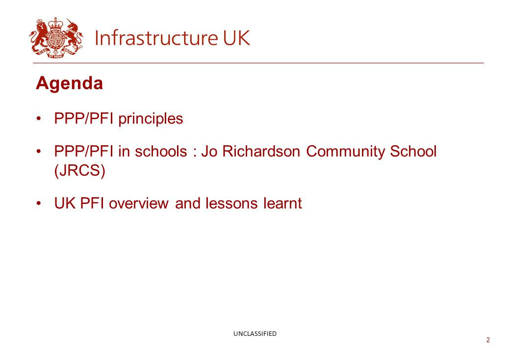 Agenda PPP/PFI principles