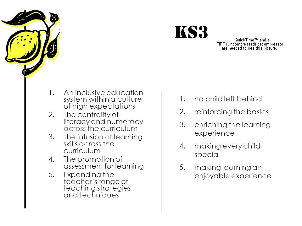 KS3 IMPACT! An inclusive education system within a culture of high expectations. The centrality of literacy and numeracy across the curriculum.