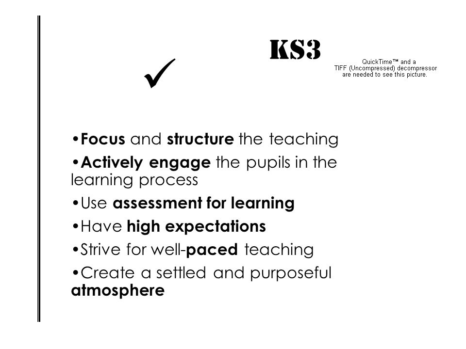  KS3 IMPACT! Focus and structure the teaching